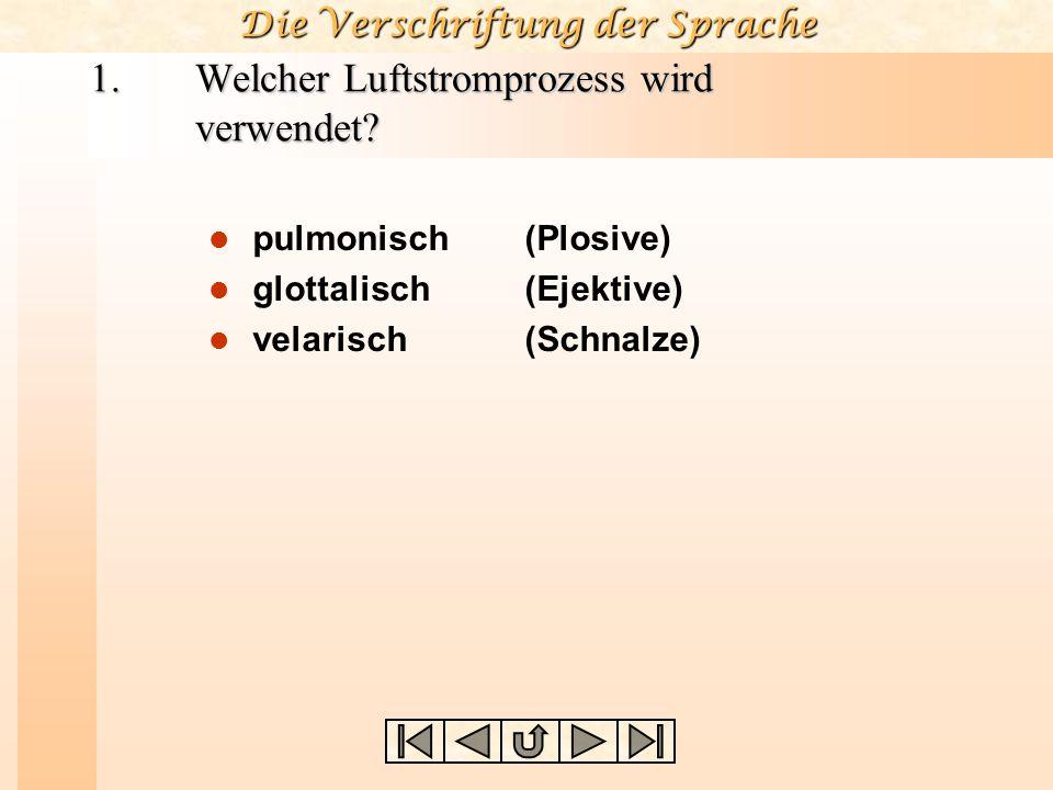 Die Verschriftung der Sprache Fragen zur Konsonantenbeschreibung Welcher Luftstromprozess wird verwendet? Welche Richtung hat der Luftstrom? Wie ist d