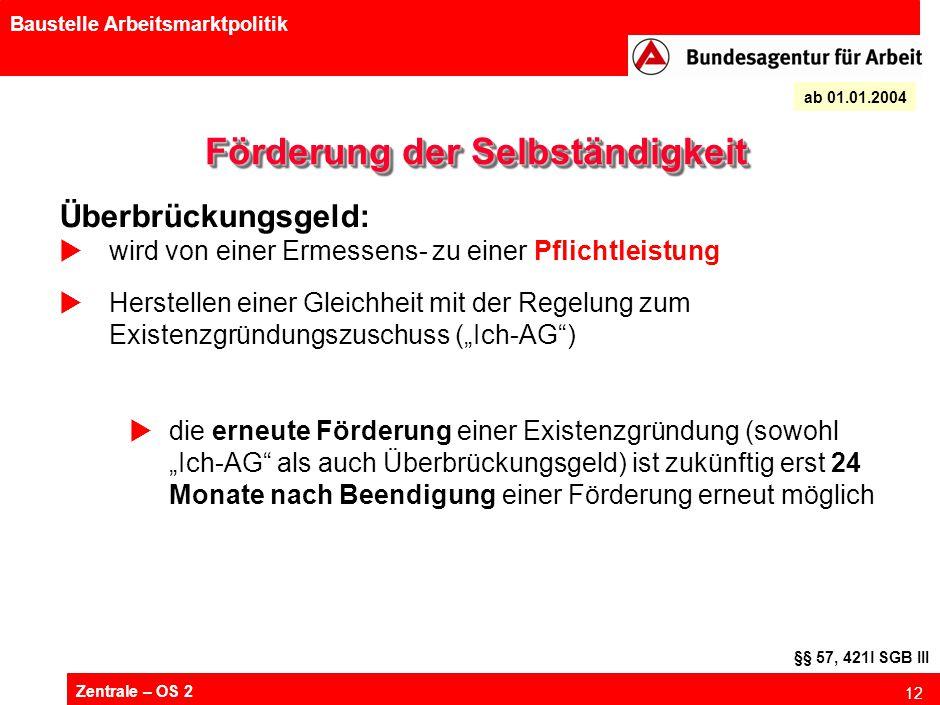 Zentrale – OS 2 12 Baustelle Arbeitsmarktpolitik Förderung der Selbständigkeit ab 01.01.2004 Überbrückungsgeld:  wird von einer Ermessens- zu einer P