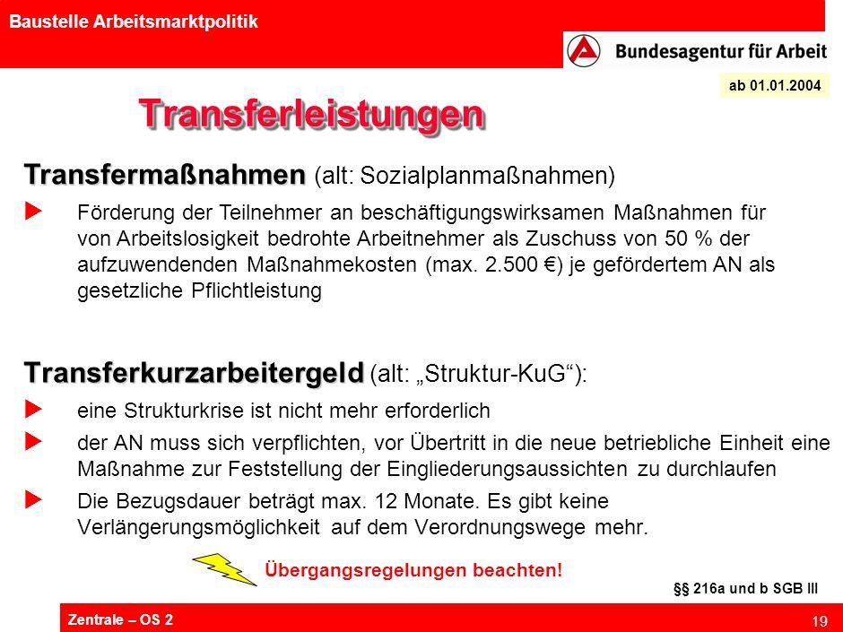 "Zentrale – OS 2 19 Baustelle Arbeitsmarktpolitik TransferleistungenTransferleistungen Transferkurzarbeitergeld Transferkurzarbeitergeld (alt: ""Struktu"