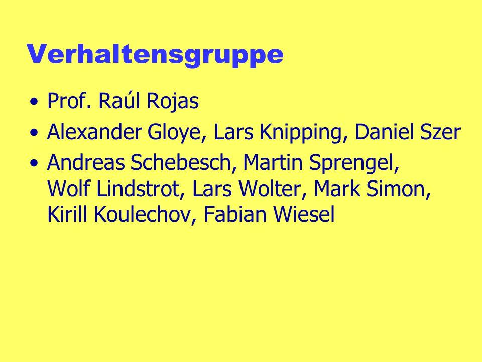 Verhaltensgruppe Prof. Raúl Rojas Alexander Gloye, Lars Knipping, Daniel Szer Andreas Schebesch, Martin Sprengel, Wolf Lindstrot, Lars Wolter, Mark Si