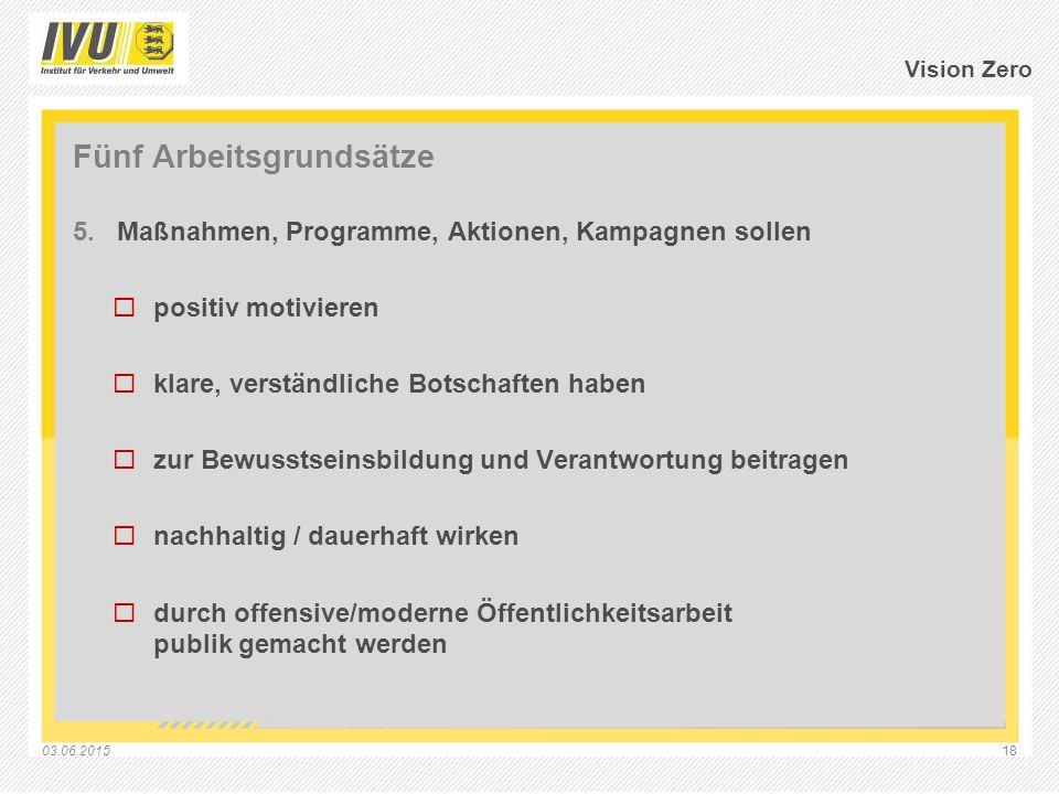 03.06.201518 Vision Zero Fünf Arbeitsgrundsätze 5.Maßnahmen, Programme, Aktionen, Kampagnen sollen  positiv motivieren  klare, verständliche Botscha