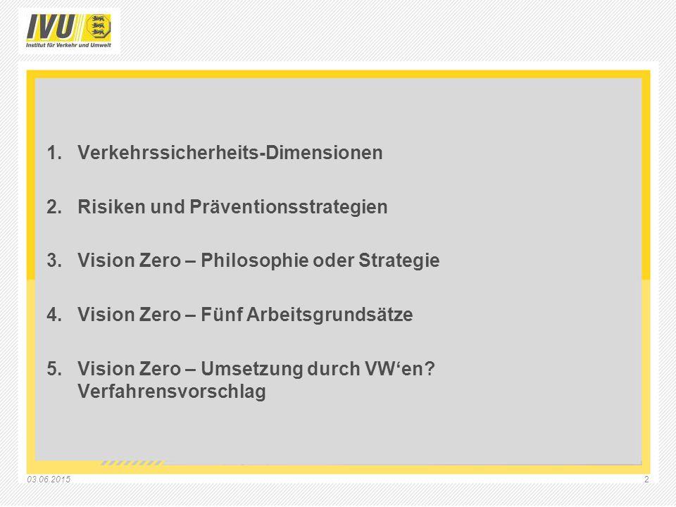 03.06.20152 1.Verkehrssicherheits-Dimensionen 2.Risiken und Präventionsstrategien 3.Vision Zero – Philosophie oder Strategie 4.Vision Zero – Fünf Arbe