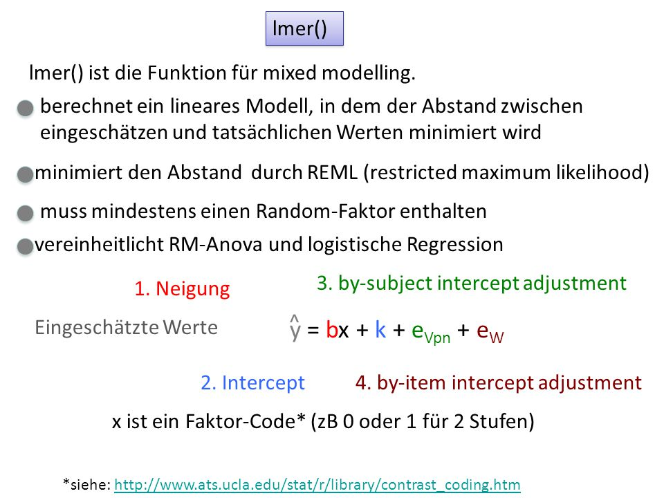 lmer() lmer() ist die Funktion für mixed modelling. 3. by-subject intercept adjustment 4. by-item intercept adjustment 1. Neigung 2. Intercept y = bx