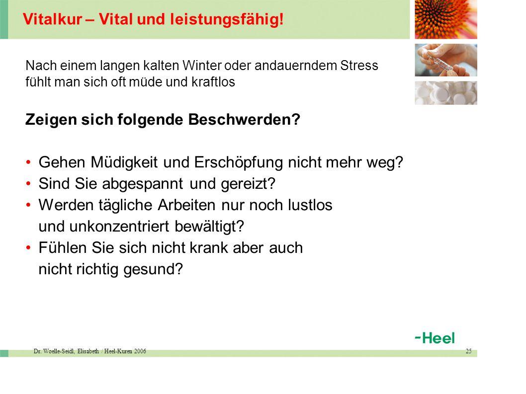 Dr. Woelle-Seidl, Elisabeth / Heel-Kuren 200625 Vitalkur – Vital und leistungsfähig.