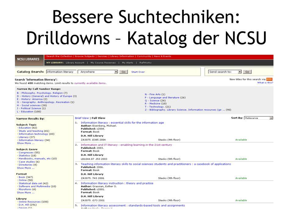 Bessere Suchtechniken: Drilldowns – Katalog der NCSU