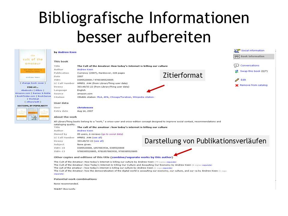 Bibliografische Informationen besser aufbereiten Darstellung von Publikationsverläufen Zitierformat