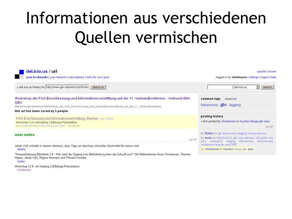 Informationen aus verschiedenen Quellen vermischen