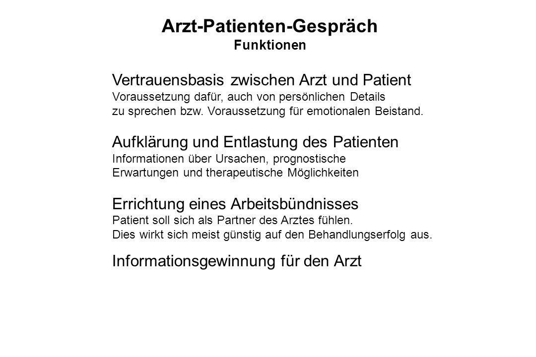 Arzt-Patienten-Gespräch Funktionen Vertrauensbasis zwischen Arzt und Patient Voraussetzung dafür, auch von persönlichen Details zu sprechen bzw. Vorau