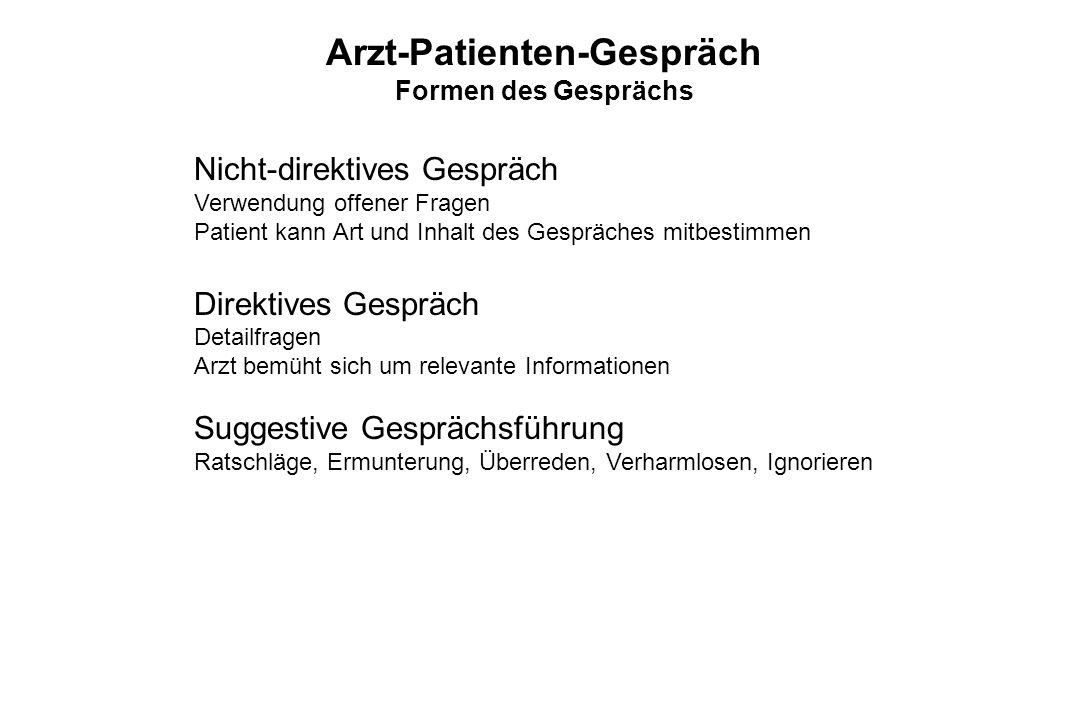 Arzt-Patienten-Gespräch Formen des Gesprächs Nicht-direktives Gespräch Verwendung offener Fragen Patient kann Art und Inhalt des Gespräches mitbestimm