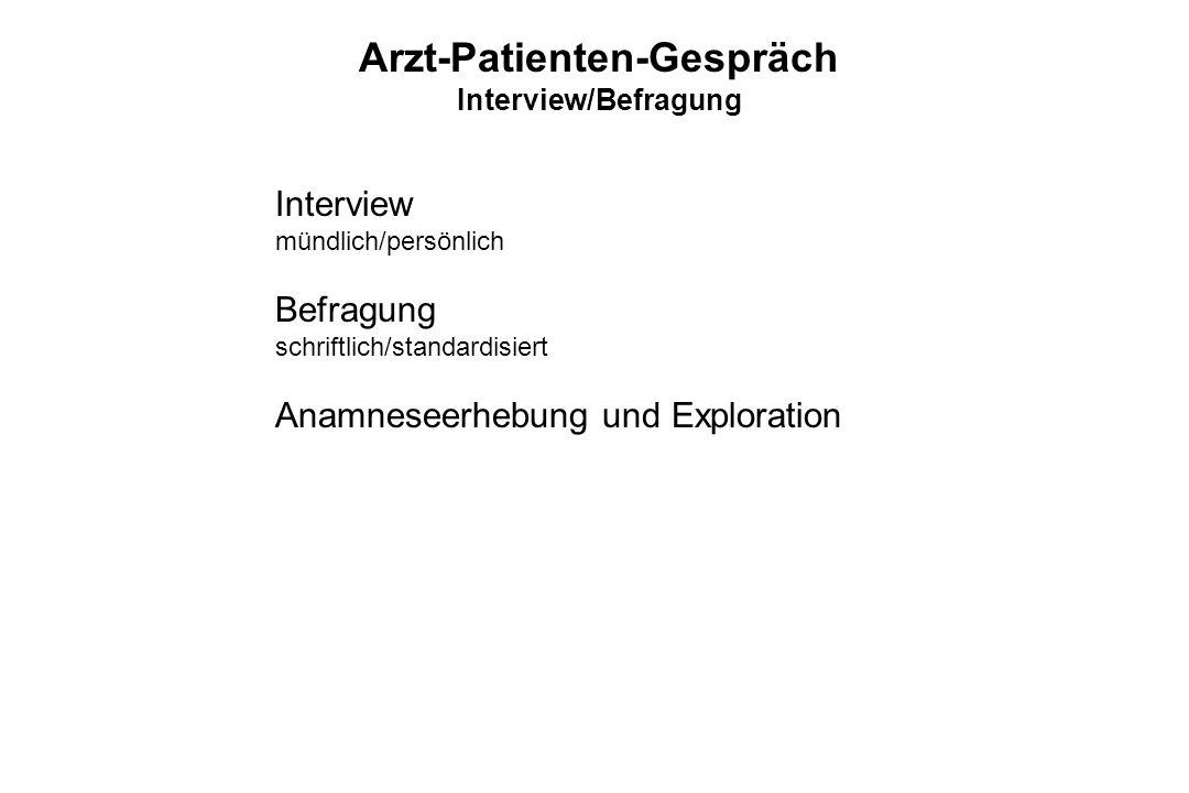 Interview mündlich/persönlich Befragung schriftlich/standardisiert Anamneseerhebung und Exploration Arzt-Patienten-Gespräch Interview/Befragung
