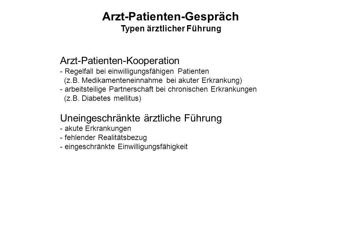 Arzt-Patienten-Kooperation - Regelfall bei einwilligungsfähigen Patienten (z.B. Medikamenteneinnahme bei akuter Erkrankung) - arbeitsteilige Partnersc