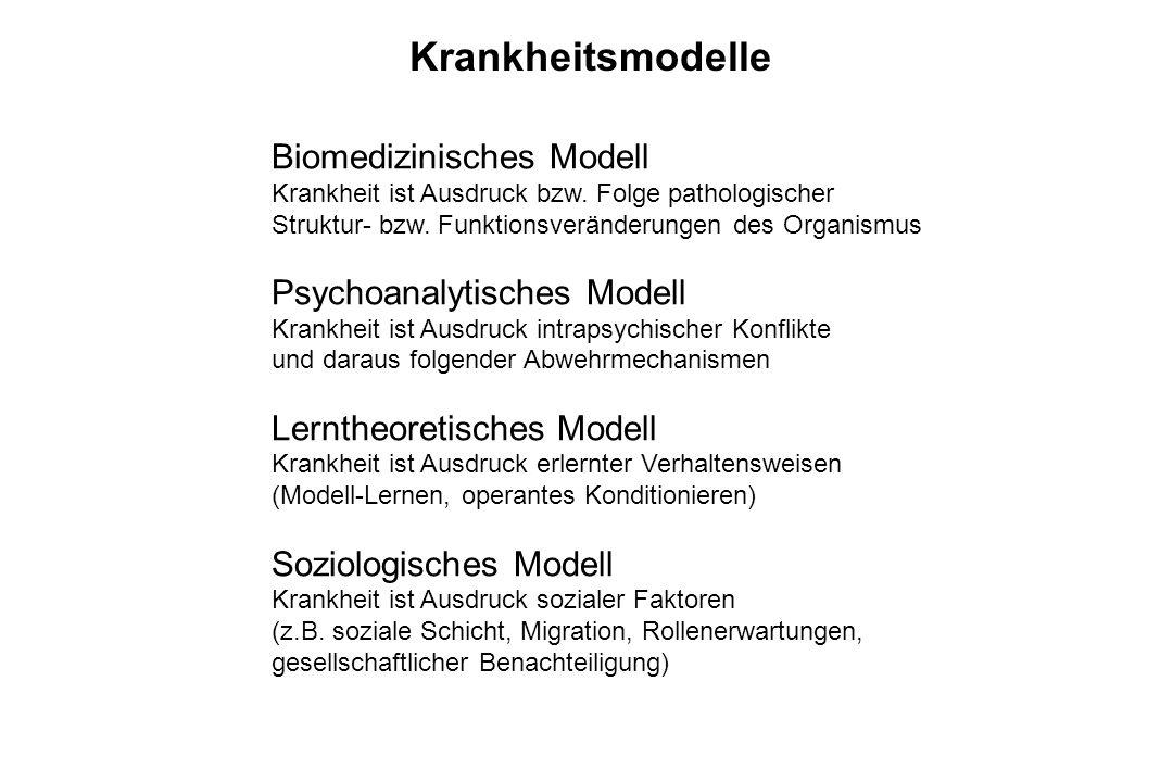Krankheitsmodelle Biomedizinisches Modell Krankheit ist Ausdruck bzw. Folge pathologischer Struktur- bzw. Funktionsveränderungen des Organismus Psycho