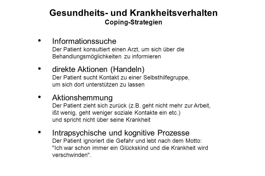 Informationssuche Der Patient konsultiert einen Arzt, um sich über die Behandlungsmöglichkeiten zu informieren direkte Aktionen (Handeln) Der Patient