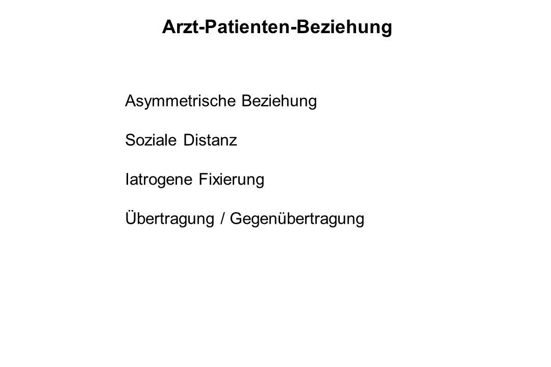 Arzt-Patienten-Beziehung Asymmetrische Beziehung Soziale Distanz Iatrogene Fixierung Übertragung / Gegenübertragung