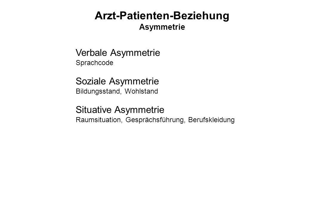 Verbale Asymmetrie Sprachcode Soziale Asymmetrie Bildungsstand, Wohlstand Situative Asymmetrie Raumsituation, Gesprächsführung, Berufskleidung Arzt-Pa