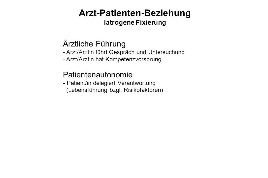 Ärztliche Führung - Arzt/Ärztin führt Gespräch und Untersuchung - Arzt/Ärztin hat Kompetenzvorsprung Patientenautonomie - Patient/in delegiert Verantw