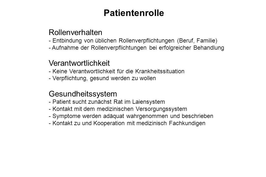 Patientenrolle Rollenverhalten - Entbindung von üblichen Rollenverpflichtungen (Beruf, Familie) - Aufnahme der Rollenverpflichtungen bei erfolgreicher