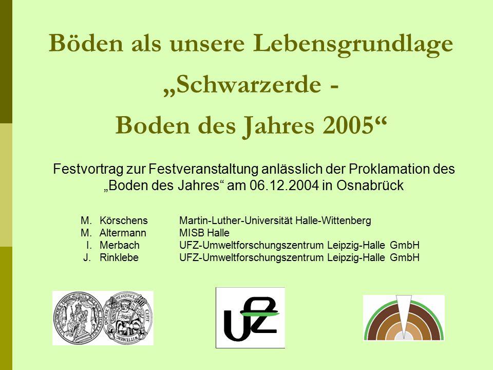 """Böden als unsere Lebensgrundlage """"Schwarzerde - Boden des Jahres 2005"""" M.KörschensMartin-Luther-Universität Halle-Wittenberg M.AltermannMISB Halle I."""