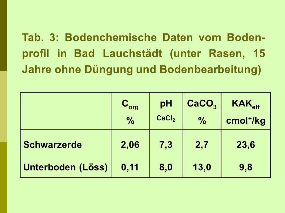 Tab. 3: Bodenchemische Daten vom Boden- profil in Bad Lauchstädt (unter Rasen, 15 Jahre ohne Düngung und Bodenbearbeitung) C org % pH CaCl 2 CaCO 3 %