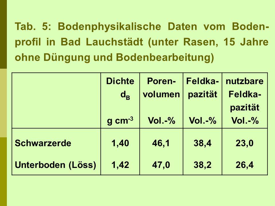 Tab. 5: Bodenphysikalische Daten vom Boden- profil in Bad Lauchstädt (unter Rasen, 15 Jahre ohne Düngung und Bodenbearbeitung) Dichte d B g cm -3 Pore