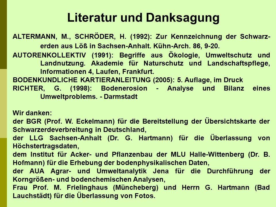 ALTERMANN, M., SCHRÖDER, H. (1992): Zur Kennzeichnung der Schwarz- erden aus Löß in Sachsen-Anhalt. Kühn-Arch. 86, 9-20. AUTORENKOLLEKTIV (1991): Begr