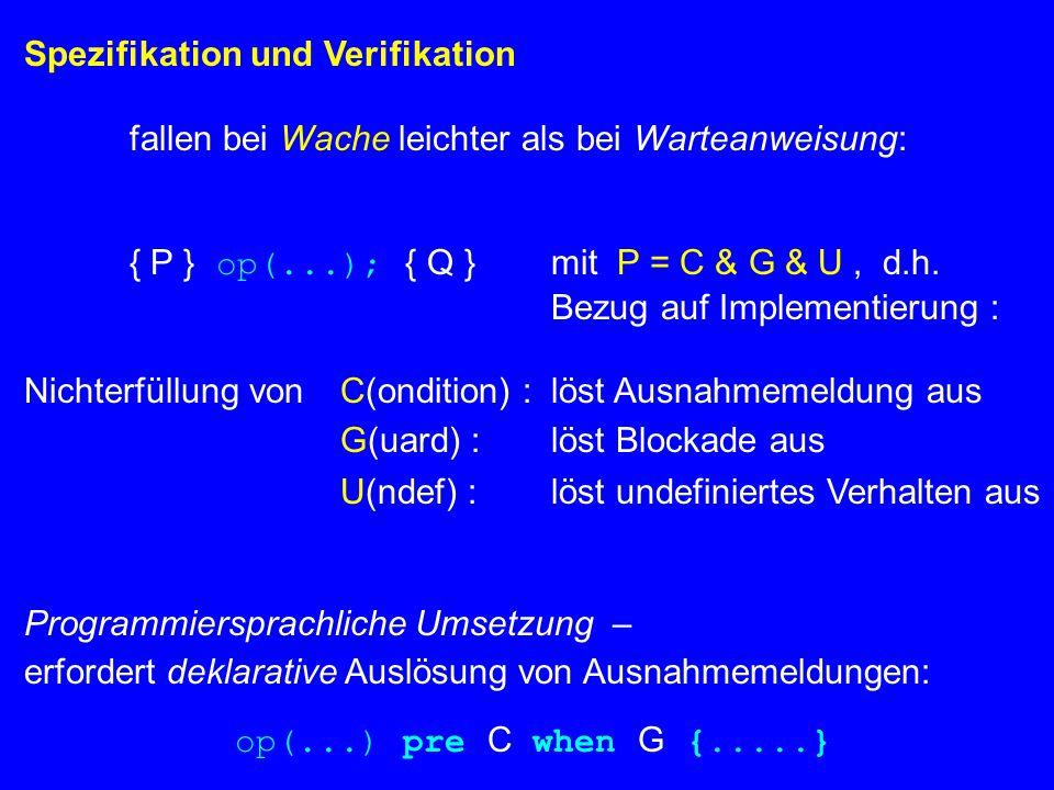 Spezifikation und Verifikation fallen bei Wache leichter als bei Warteanweisung: { P } op(...); { Q }mit P = C & G & U, d.h.