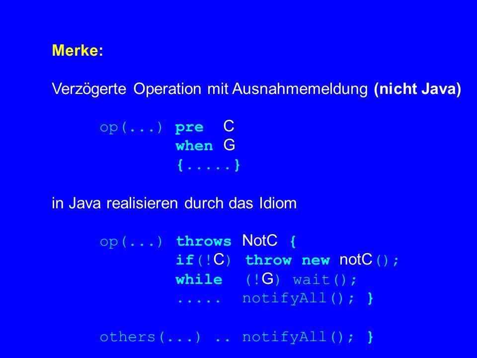 Merke: Verzögerte Operation mit Ausnahmemeldung (nicht Java) op(...) pre C when G {.....} in Java realisieren durch das Idiom op(...) throws NotC { if(.