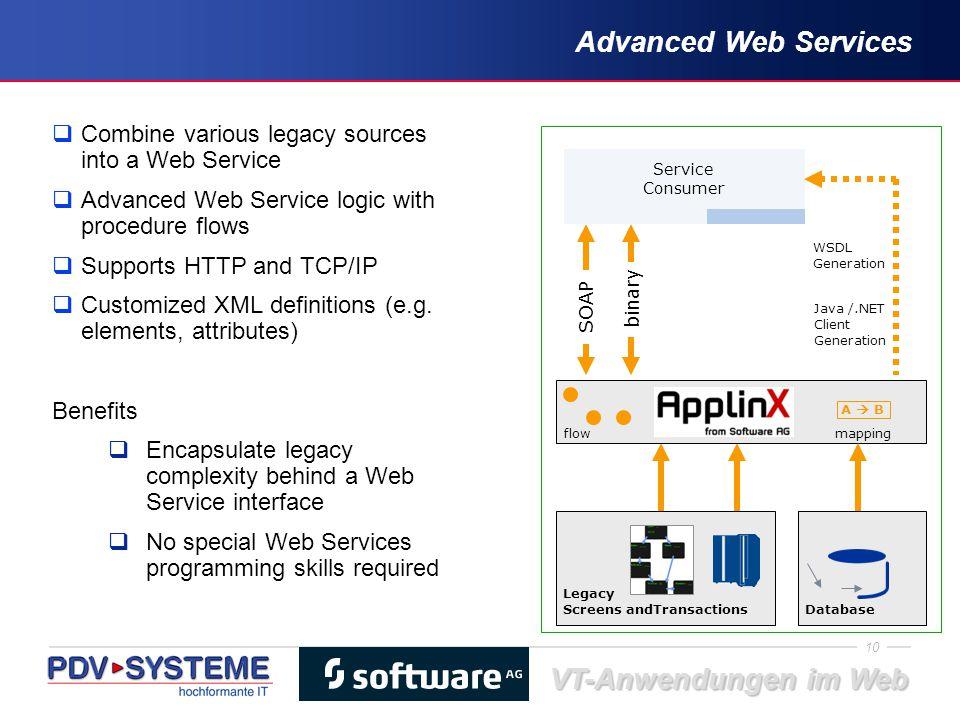 10 VT-Anwendungen im Web Advanced Web Services  Combine various legacy sources into a Web Service  Advanced Web Service logic with procedure flows 