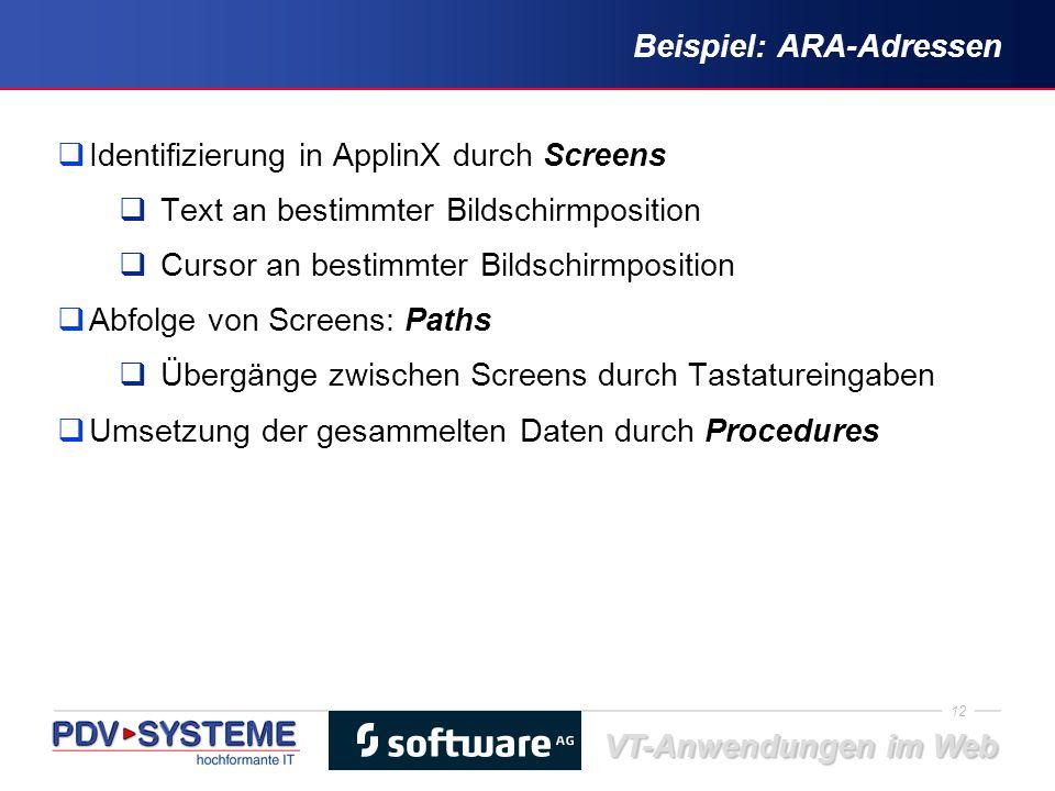 12 VT-Anwendungen im Web Beispiel: ARA-Adressen  Identifizierung in ApplinX durch Screens  Text an bestimmter Bildschirmposition  Cursor an bestimm