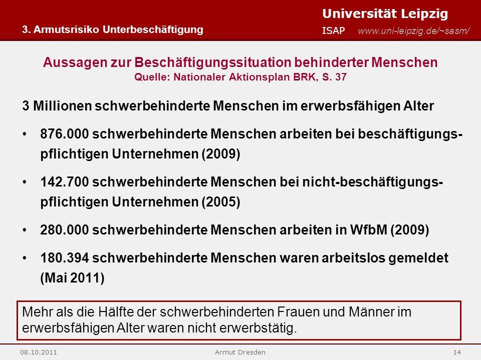 Universität Leipzig ISAP www.uni-leipzig.de/~sasm/ 08.10.2011Armut Dresden14 Aussagen zur Beschäftigungssituation behinderter Menschen Quelle: Nationaler Aktionsplan BRK, S.