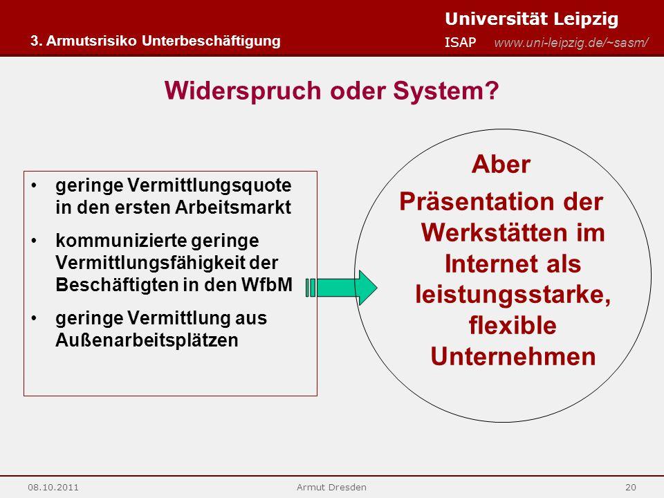 Universität Leipzig ISAP www.uni-leipzig.de/~sasm/ 08.10.2011Armut Dresden20 Widerspruch oder System? geringe Vermittlungsquote in den ersten Arbeitsm