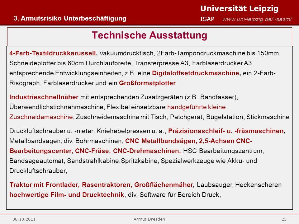 Universität Leipzig ISAP www.uni-leipzig.de/~sasm/ 08.10.2011Armut Dresden23 Technische Ausstattung 4-Farb-Textildruckkarussell, Vakuumdrucktisch, 2Fa