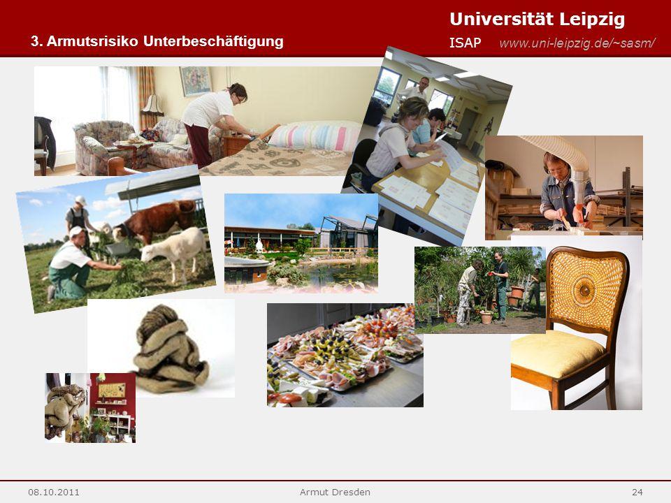 Universität Leipzig ISAP www.uni-leipzig.de/~sasm/ 08.10.2011Armut Dresden24 3. Armutsrisiko Unterbeschäftigung
