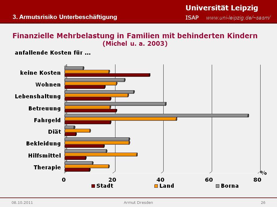 Universität Leipzig ISAP www.uni-leipzig.de/~sasm/ 08.10.2011Armut Dresden26 Finanzielle Mehrbelastung in Familien mit behinderten Kindern (Michel u.