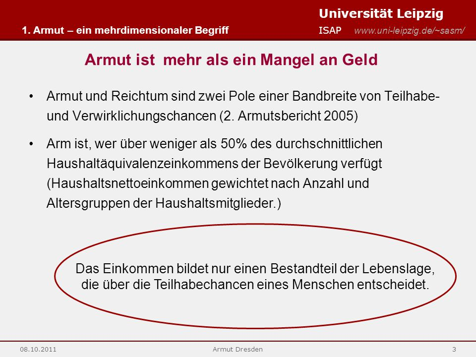Universität Leipzig ISAP www.uni-leipzig.de/~sasm/ 08.10.2011Armut Dresden3 Armut ist mehr als ein Mangel an Geld 1. Armut – ein mehrdimensionaler Beg