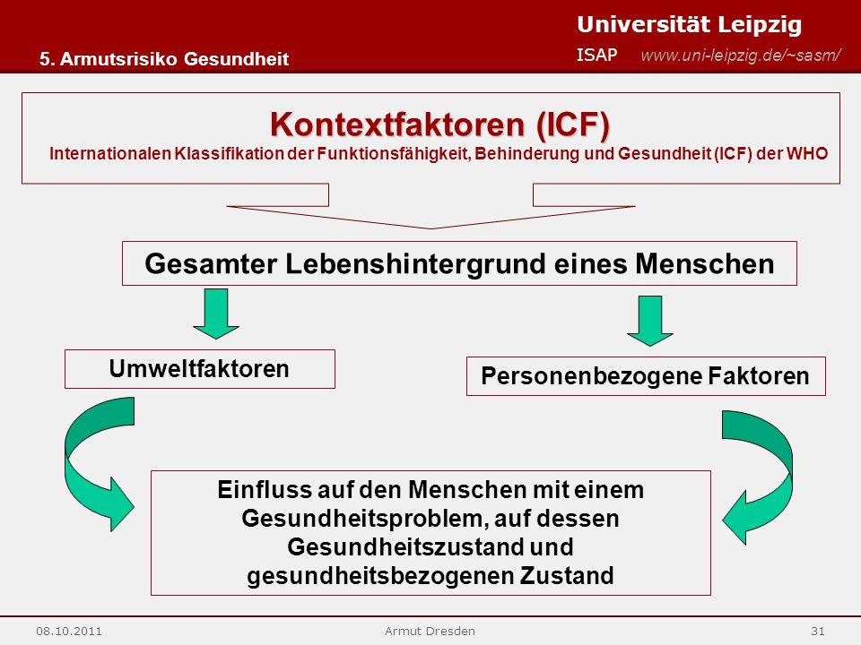 Universität Leipzig ISAP www.uni-leipzig.de/~sasm/ 08.10.2011Armut Dresden31 Kontextfaktoren (ICF) Internationalen Klassifikation der Funktionsfähigke