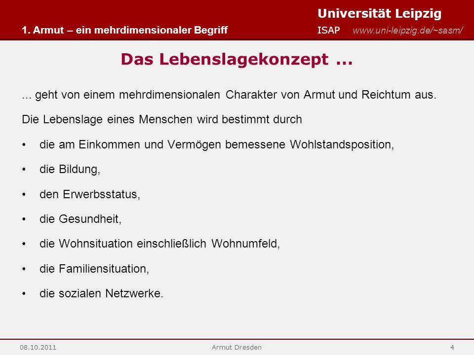 Universität Leipzig ISAP www.uni-leipzig.de/~sasm/ 08.10.2011Armut Dresden4 Das Lebenslagekonzept...... geht von einem mehrdimensionalen Charakter von