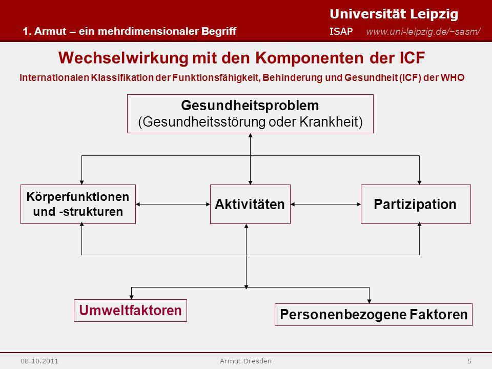 Universität Leipzig ISAP www.uni-leipzig.de/~sasm/ 08.10.2011Armut Dresden5 Wechselwirkung mit den Komponenten der ICF Internationalen Klassifikation