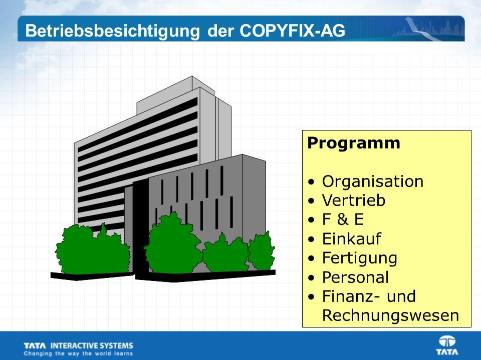 Programm Organisation Vertrieb F & E Einkauf Fertigung Personal Finanz- und Rechnungswesen Betriebsbesichtigung der COPYFIX-AG