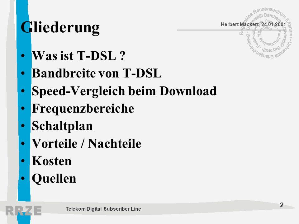 2 Herbert Mackert, 24.01.2001 Telekom Digital Subscriber Line Gliederung Was ist T-DSL ? Bandbreite von T-DSL Speed-Vergleich beim Download Frequenzbe