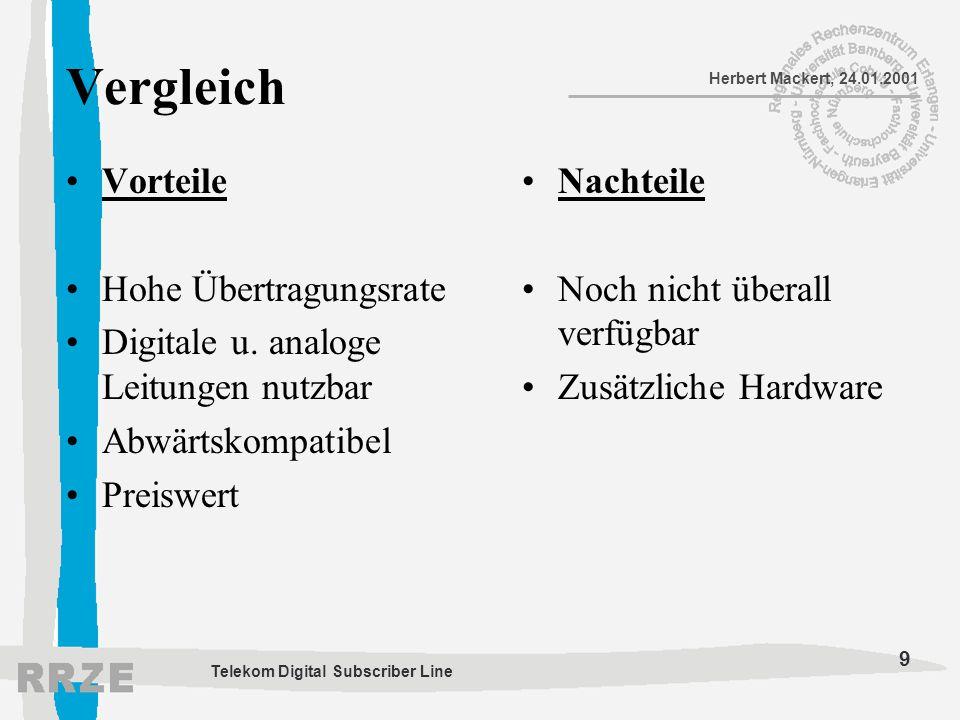 9 Herbert Mackert, 24.01.2001 Telekom Digital Subscriber Line Vergleich Vorteile Hohe Übertragungsrate Digitale u. analoge Leitungen nutzbar Abwärtsko