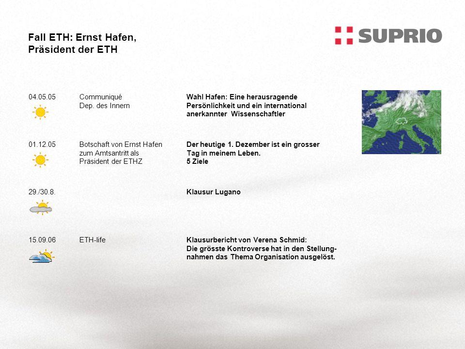 Fall ETH: Ernst Hafen, Präsident der ETH 04.05.05Communiqué Dep.