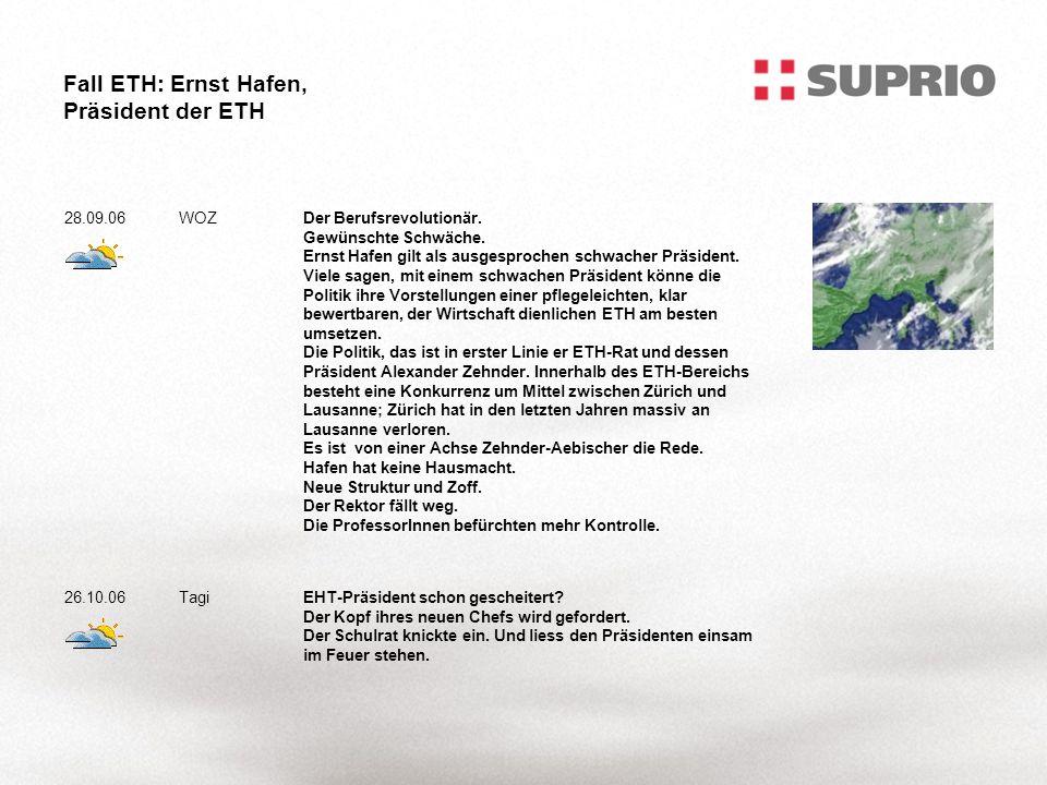 Fall ETH: Ernst Hafen, Präsident der ETH 28.09.06WOZDer Berufsrevolutionär.