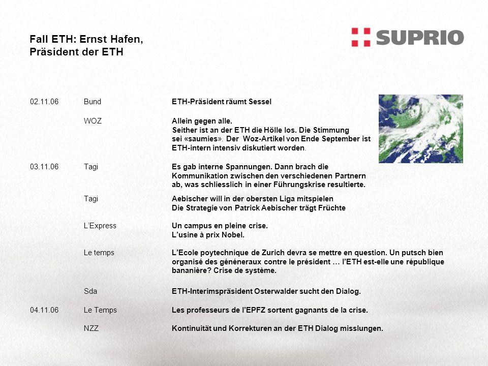 Fall ETH: Ernst Hafen, Präsident der ETH 02.11.06BundETH-Präsident räumt Sessel WOZAllein gegen alle.