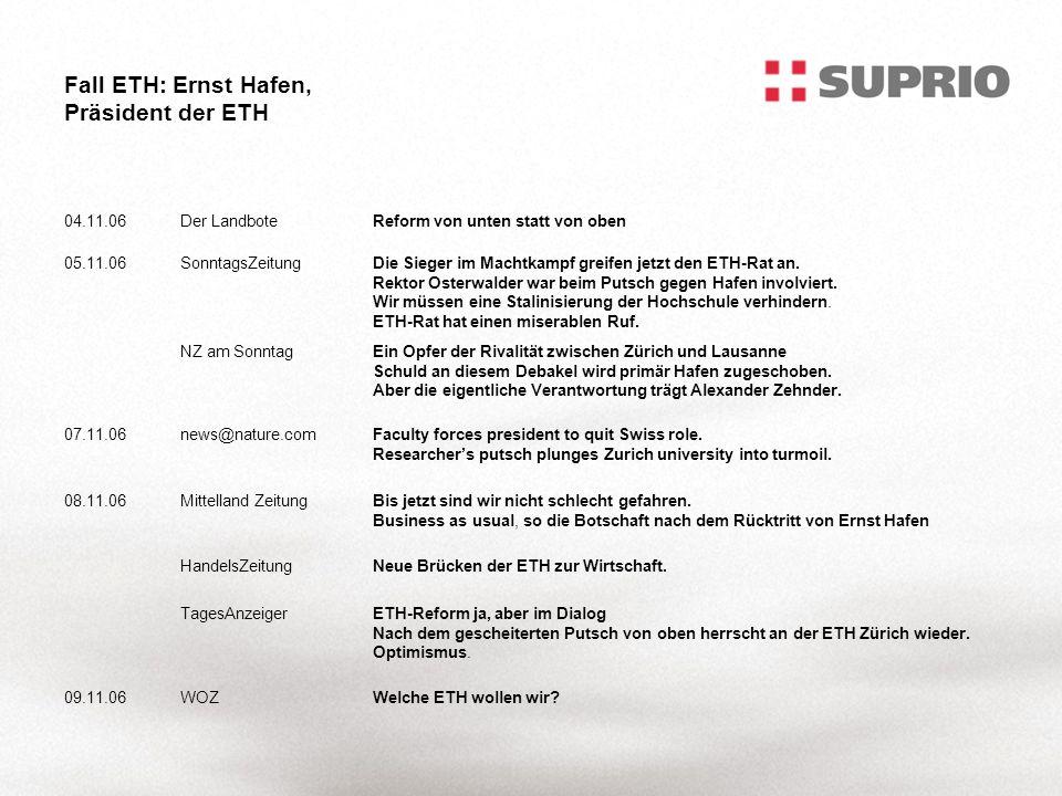 Fall ETH: Ernst Hafen, Präsident der ETH 04.11.06Der LandboteReform von unten statt von oben 05.11.06SonntagsZeitungDie Sieger im Machtkampf greifen jetzt den ETH-Rat an.