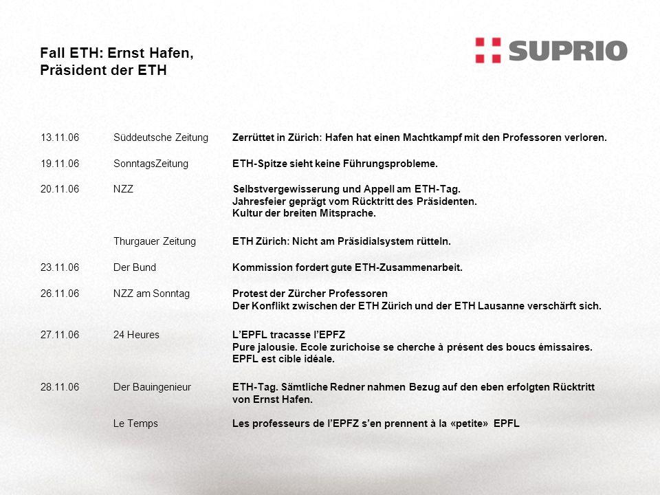 Fall ETH: Ernst Hafen, Präsident der ETH 13.11.06Süddeutsche ZeitungZerrüttet in Zürich: Hafen hat einen Machtkampf mit den Professoren verloren.