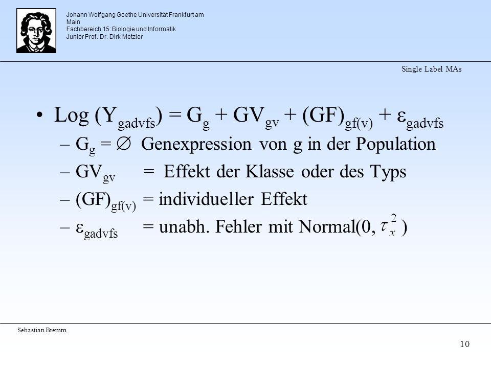Johann Wolfgang Goethe Universität Frankfurt am Main Fachbereich 15: Biologie und Informatik Junior Prof.