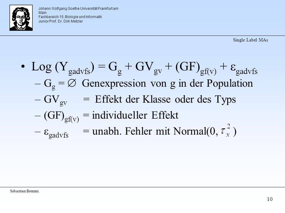 Johann Wolfgang Goethe Universität Frankfurt am Main Fachbereich 15: Biologie und Informatik Junior Prof. Dr. Dirk Metzler Sebastian Bremm 10 Single L