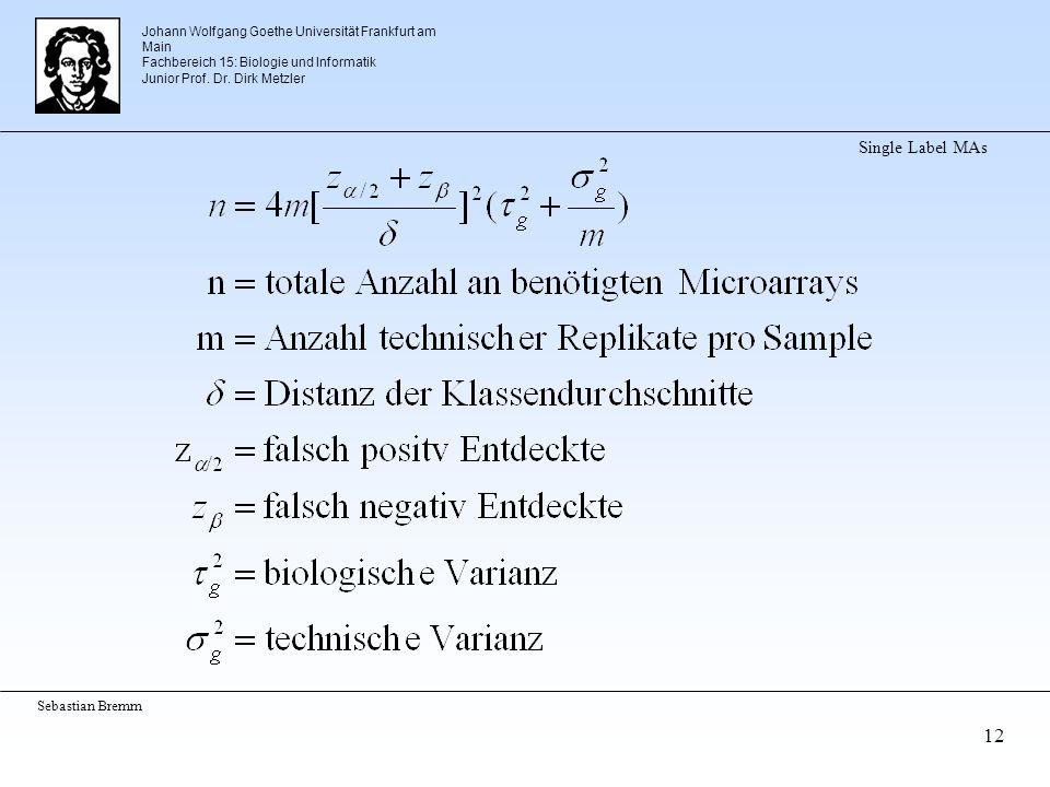 Johann Wolfgang Goethe Universität Frankfurt am Main Fachbereich 15: Biologie und Informatik Junior Prof. Dr. Dirk Metzler Sebastian Bremm 12 Single L