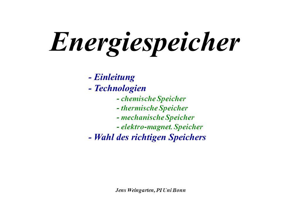 14.12.2005 Jens Weingarten, PI Uni Bonn 12 Technologien: mechanische Speicher Speicher für potentielle Energie: Druckluftspeicher -Gasturbinen-Kraftwerk, Verbrauch <40% eines normalen wegen Vorkompression der Luft -Kompression zu Schwachlastzeiten(50-70 bar, Beladung dauert etwa 8h) -komprimierte Luft gespeichert in vorhandenen Höhlen/Minen (300.000-500.000 m³) -bei Kompression tritt Erwärmung auf, die jedoch an umliegendes Gestein verloren geht ->erhöhter Druck bleibt erhalten -Kosten etwa $590/kW, Anlaufzeit 3-10 min., Laufzeit/Ladung etwa 2h -geringer Wirkungsgrad wegen mehrfacher Wandlung der Energie 1.